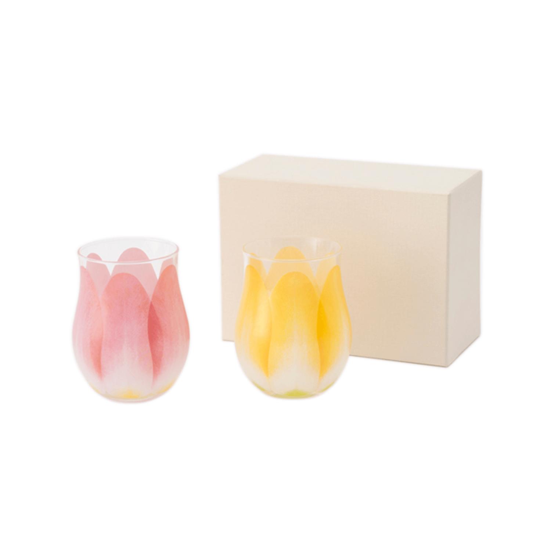 Floyd                       Tulip Glass 2pcs set Red×Yellow