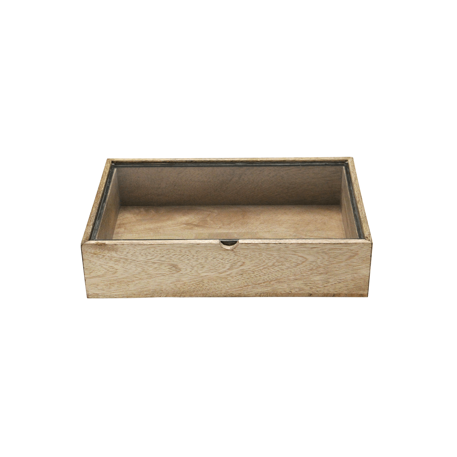 Rectangle Wooden Box With Glass Lid/Medium