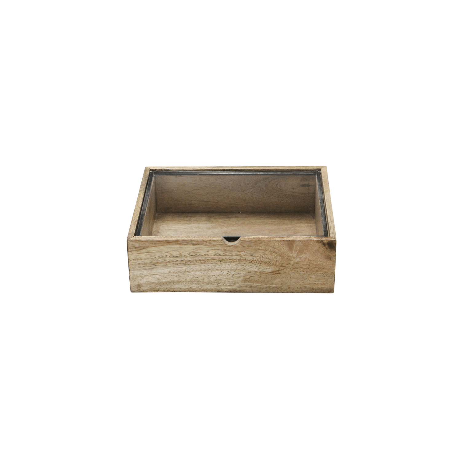 Rectangle Wooden Box With Glass Lid/Small