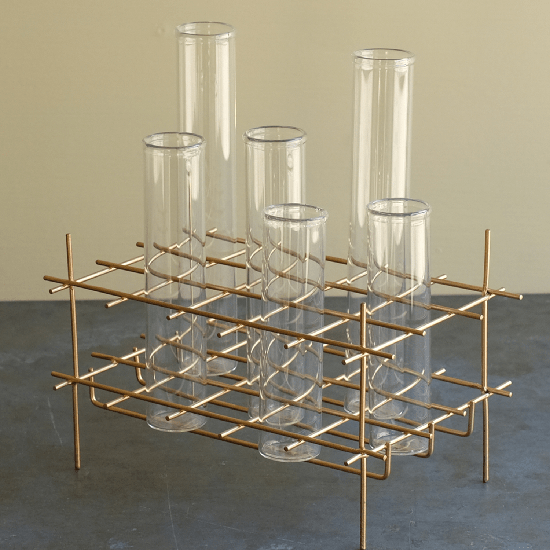 BIRD'S NEST glass test tube vase S/Gold